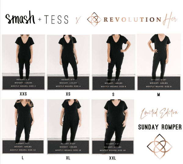 Smash Tess x RevolutionHER Romper Size Guide